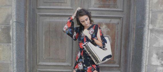 Australian hand made designer Ladies handbag. Summer Beach Bag, boho, Mexican tote.  Honey cotton canvas with Ethnic festival trims