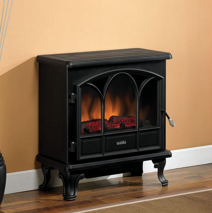 Duraflame 750 Black Electric Fireplace Stove With Remote Control Dfs 750 1 Electric