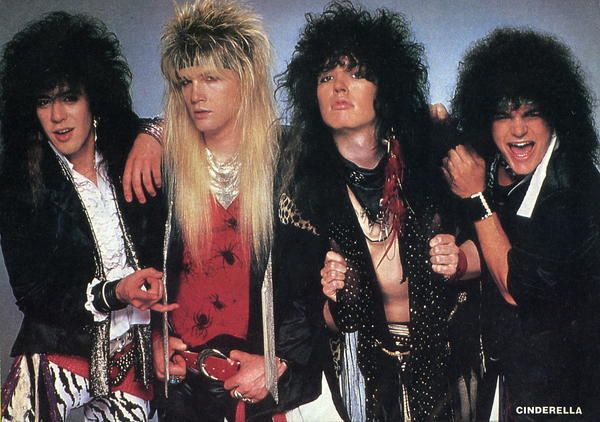Cinderella, Night Songs, sometime in the late 80s. That guy all the way on the left has way more hair than face