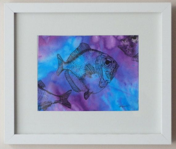 """ORIGINAL Signed Framed Pen & Ink Drawing Painting of a Fish by VLGStudios This painting is entitled """"KEEP SWIMMING"""".   Completed in November 2010 as a part of sea-life study, it uses the technique of marbling to create the ocean background in which the outline ink drawings of fish appear to be swimming.   Brightly coloured, it will bring life to any room, and would be particularly suitable for bathrooms."""