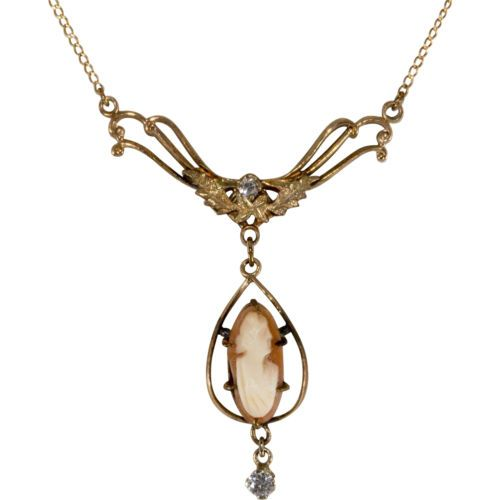 Shell-Cameo-Lavalier-Necklace-14K-w-Genuine-Diamond-Accents
