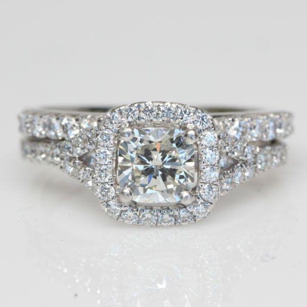 1.75 CTW Cushion Cut Halo Engagement Ring