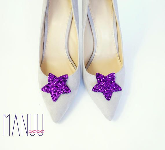 Purple glitter stars shoe clips Manuu Bridal shoe clips