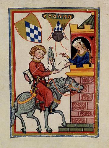 """Cavaliere e Dama - miniatura dal """"Codex Manesse"""" (XIV secolo)"""