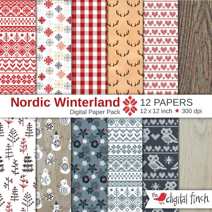 """Nordic Pattern Digital Papers - 12x12"""" - scrapbooking paper - 300 dpi - Christmas Winterland - instant download - commercial use"""