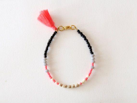 Coral Friendship Bracelet with Tassel - Black Ivory Coral Pink Grey Bracelet - Gold Beads Bracelet- Layered Tassel Bracelet This one is a pop
