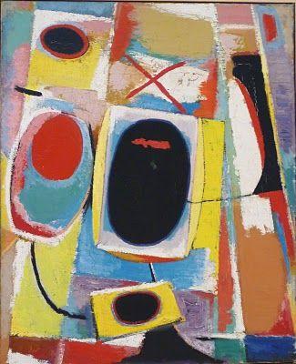 Piet Ouborg, Compositiemet zwart ovaal(1947) Groninger museum Een passie voor beeldende kunst