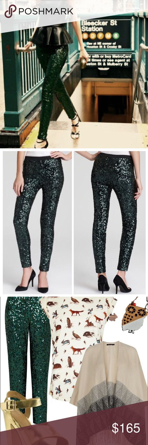 French connection ozlem sequin green pants AMAZING! These are the definition of hot pants! Worn once for a shoot-in like new condition. Dark green. Size medium. PRODUCT DETAILS: A pair of dazzling, showstopping, sequined French Connection skinny pants are a recipe for glam gams, with a generous helping of sparkle and shine.  Polyester/spandex Dry clean Imported Elasticized waist, allover sequins, fully lined French Connection Pants