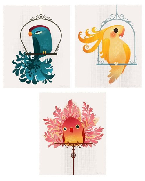 How adorable are these fancy little bird paintings By Brittney Lee? I'd love to have them in my bedroom :) -P.S.
