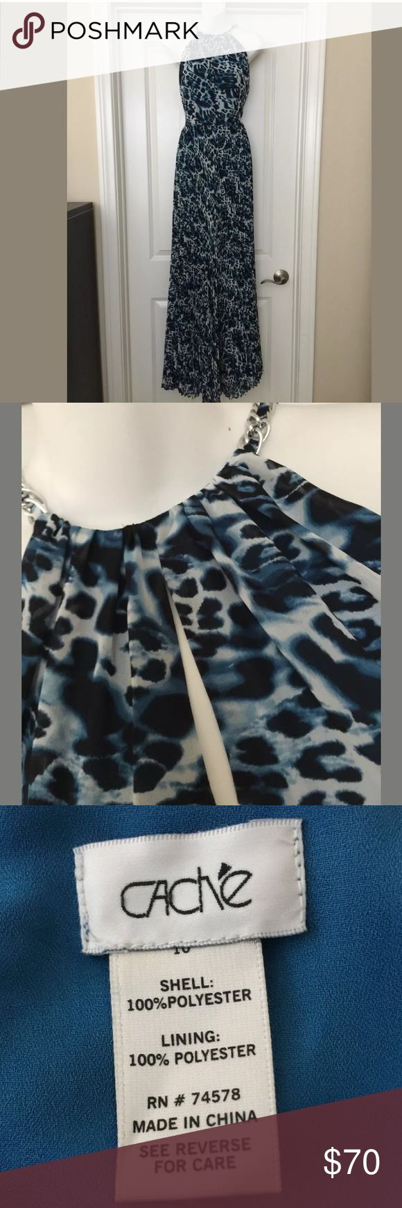 """New Cache leopard maxi dress gown formal Sz 10 Gorgeous Cache gown !  Front & back keyhole design  Side zip Size 10 New without tags    Bust 17.75"""" Waist 15.5"""" Length 63""""   Smoke/pet free home Cache Dresses Maxi"""