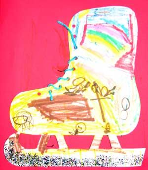 """""""Ii"""" is for Ice Skate; lacing craft"""