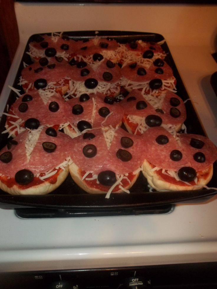 Ladybug Pizzas for birthday party
