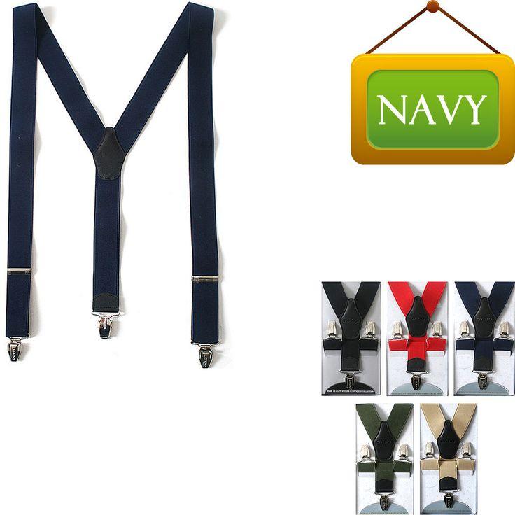 Faux Leather Elastic Suspenders Wide Suit Office Adjustable Clip-On Braces NAVY #springsummerfallwinter