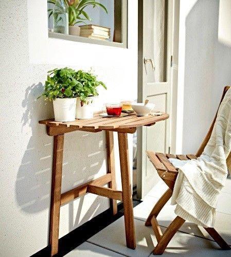Half Round Table Patio Balcony Coffee Snack Desk Wooden Outdoor Furniture Stand #SmartDealsMArket