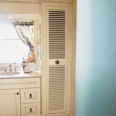 Repurpose old window shutters as decorative closet doors.
