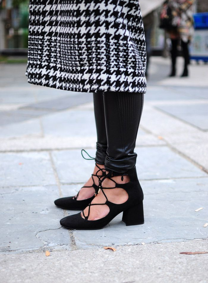 Toronto Fashion Week Street Style Shoes - lace up block heel pumps