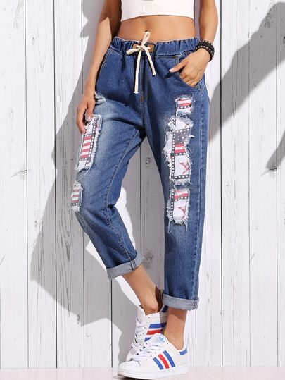 Blue Stars and Stripes Lined Distressed Jeans