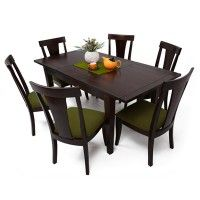 Masden 6 Seater Extendable Dining Table Set Green  Rs 38,850  Material: Sheesham Wood Color/Finish: Green, Mahogany Finish