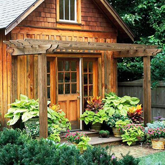A Natural Extension  A shed and a pergola go hand in hand.  -- Pergolas can be stand-alone or attached structures; this small-scale version extends off a charming wood garden shed.
