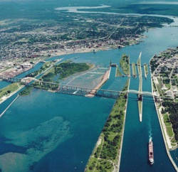 Sault Ste. Marie, Ontario. Got to help steer a tour boat through the locks in 1980...Canadian side. :)