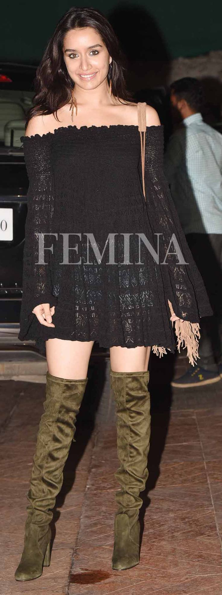 '10 Best Dresses From Bollywood ACtor #Shraddha_Kapoor's Closet' Shraddha-Kapoor-lace-dress-denim-shorts-thigh-high-boots via @topupyourtrip
