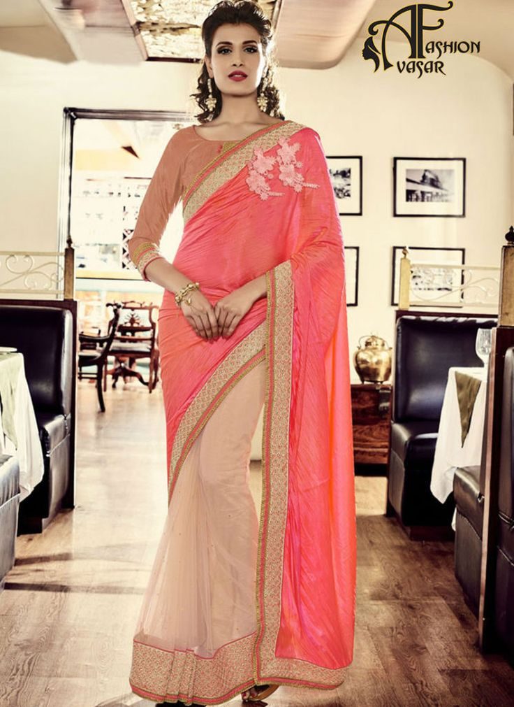 Pink Saree With Golden Border Online Shopping