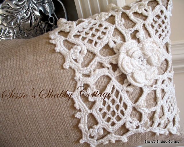 507 best antique and vintage linens images on pinterest for Burlap fabric projects