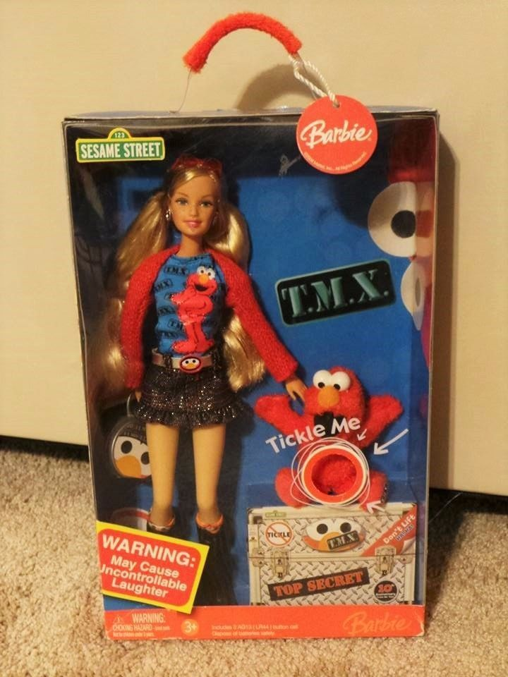 Mattel Barbie and Tickle Me Elmo Doll Set Sesame Street Fun #Mattel
