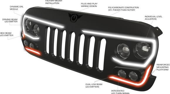 Vector Pro Series Full Led Grill For Jeep Wrangler Jk Jeep