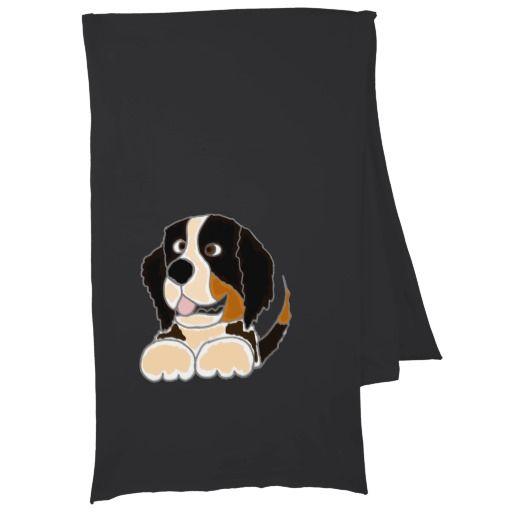 Funny Bernese Mountain Dog Art Scarf #BerneseMountain #dogs #scarf #pets #animals And www.zazzle.com/petspower*