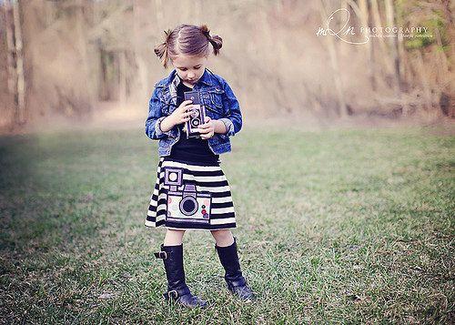 Girls Vintage Camera Applique Knit Skirt... Custom Colors Sizes 12/18M through 14. $39.00, via Etsy.