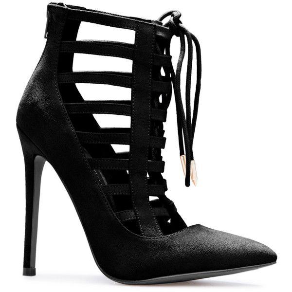 ShoeDazzle Pumps Jahna Womens Black ❤ liked on Polyvore featuring shoes, pumps, black, lace up shoes, pointed toe shoes, black cage shoes, black lace up pumps and caged pumps