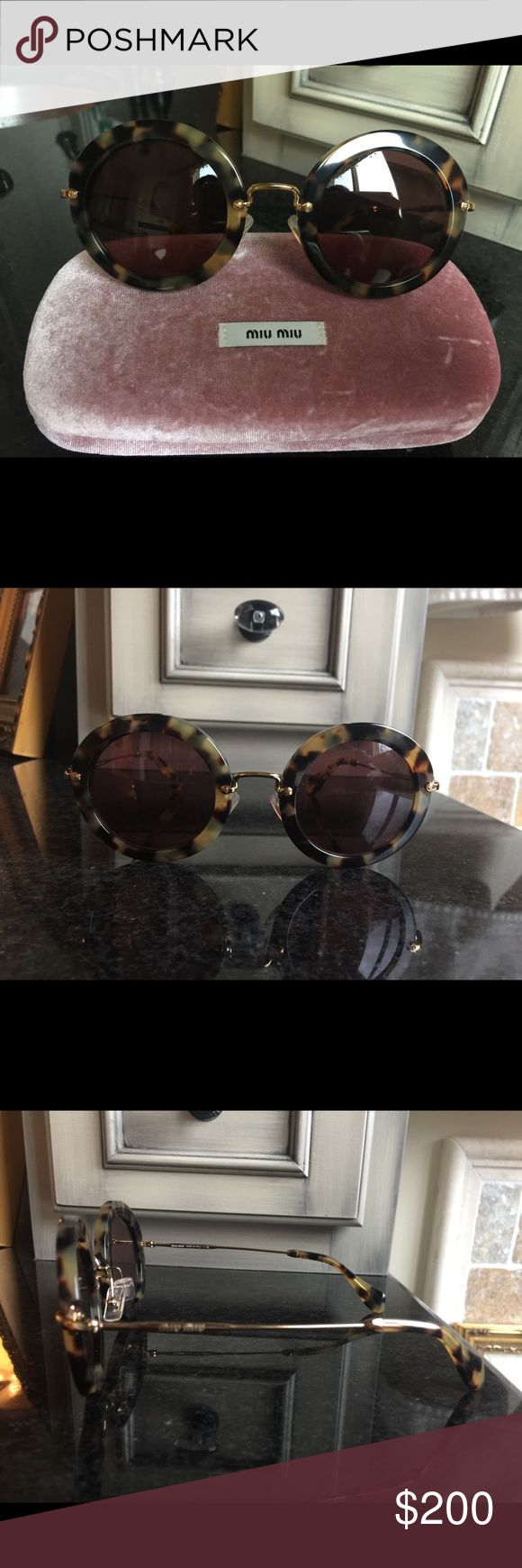 New! Miu Miu Tortoise Shell sunglasses Miu Miu (by Prada) lightweight & very fashionable oversized round sunglasses. New Accessories Sunglasses