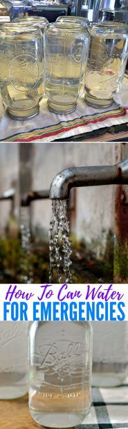How To Can Water for Emergencies — Stocking an emergency water supply is something everyone should do-regardless of their situation. Natural disasters can disrupt water supply, contamination can occur with chemical or biological hazard leaks, and cold weather can cause pipes to freeze and burst. Image: loavesanddishes.net