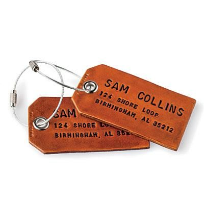 Rugged Luggage Tags | Stamped leather makes for rustic, personalized style. | SouthernLiving.com