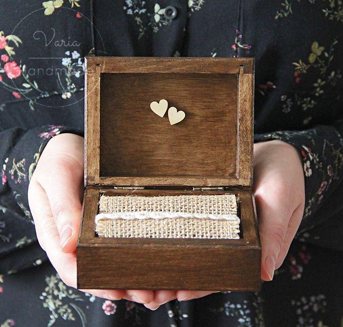 Rustykalne pudełko na obrączki Love