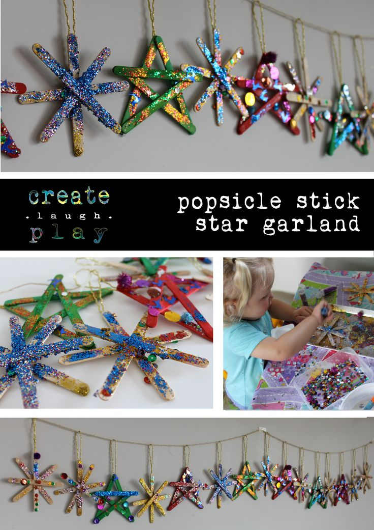 Good old fashioned popsicle stick star garland. Never loses its appeal for the kids.