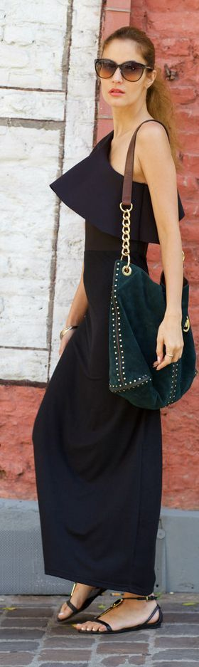 Asymmetrical Black Maxi Dress by From Brussels With Love
