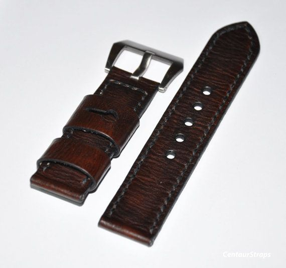 Dark Brown Vintage ammo style handmade leather by CentaurStraps, €56.00