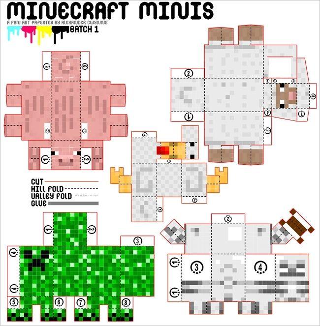Minecraft mini papercraft mincraft pinterest offices for Minecraft crafts for kids