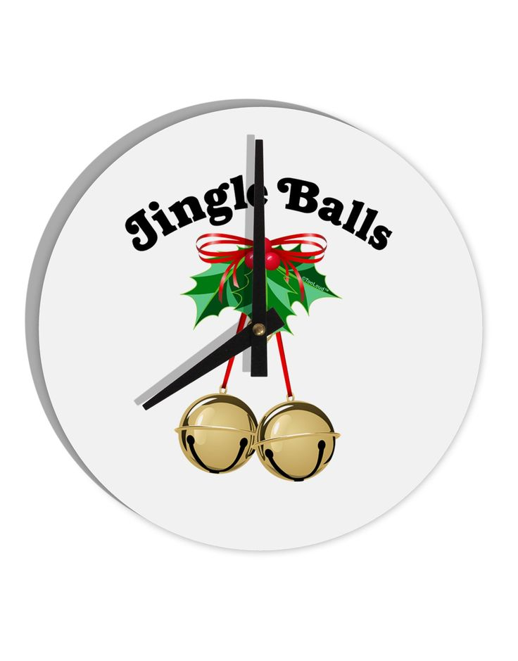 """Jingle Balls with Text 8"""" Round Wall Clock"""
