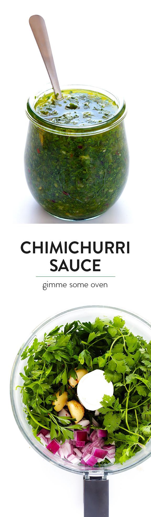 This homemade Chimichurri Sauce recipe is super easy to make in the food…