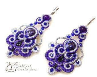 Soutache Purple Earrings Dangle Soutache earrings Swarovski Crystal violet jewelry earrings chandelier