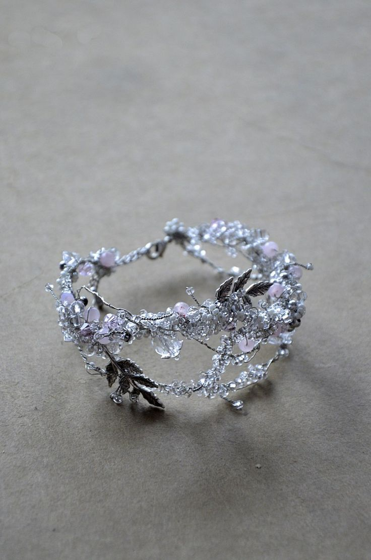 bridal bracelet with crystal, natural quartz beads, leaves.