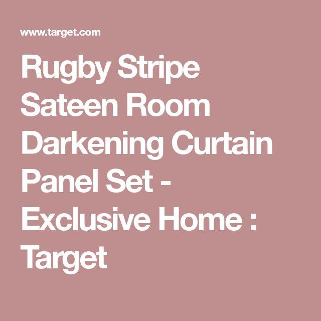 Rugby Stripe Sateen Room Darkening Curtain Panel Set - Exclusive Home : Target