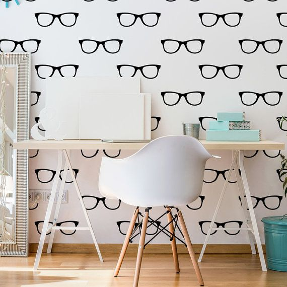 Hipster Glasses, Glasses Wall Decal, Eye Doctor, Dorm Decor, Eyewear Wall Decal, Specs Wall Decal, Sunglasses Wall Decal, Unique Wall Art