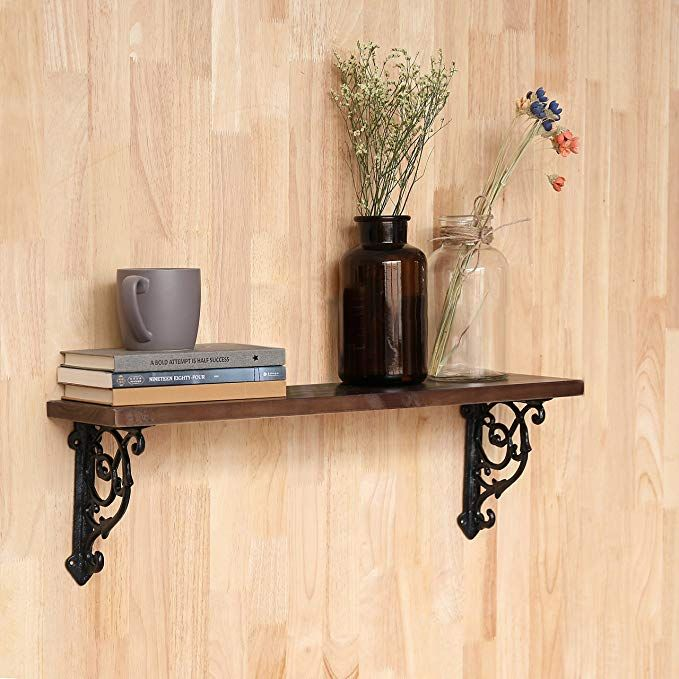 Mygift 24 Inch Victorian Style Floating Shelf With Decorative Cast Iron Brackets Home Accessories Decor Victorian App Decor Floating Shelves Living Room Decor