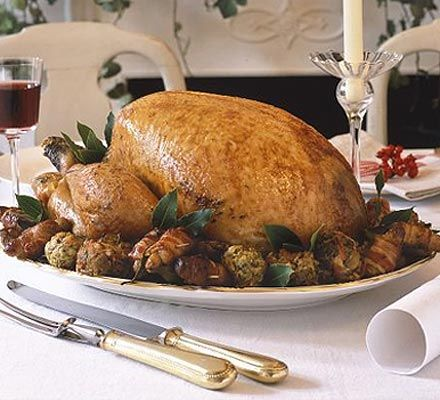 Classic roast turkey with red wine baste