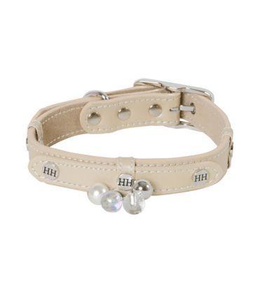 Collar mascotas de piel con perlas