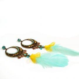 Lange veren oorbellen in geel en turquoise met Swarovski